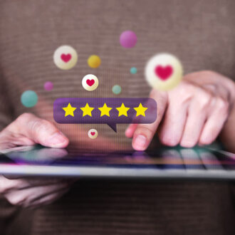 Customer Experiences Concept. Closeup Of  Woman Using Digital Ta
